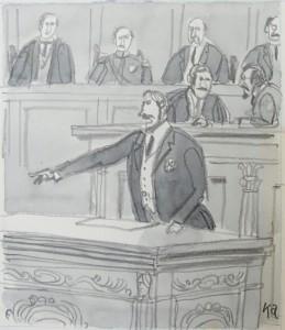 風間完 挿絵原画 フランス下院議会の様子 (連載27回中の第21回目の挿絵)