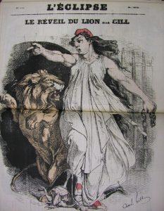 ジル 風刺画新聞「レクリプス(蝕)」1870年9月11日号「ライオンの目覚め」